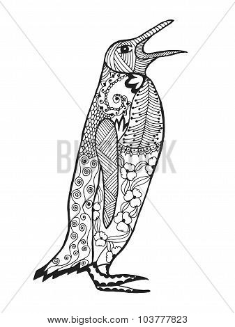Zentangle stylized penguin. Sketch for tattoo or t-shirt.