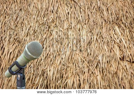 Microphone On A Stand With Blurred Dried Leaves Of The Cogon Grass.