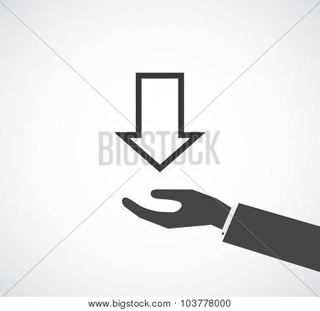 hand with arrow icon