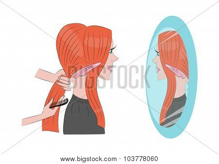 beautiful red-haired girl is doing her hair in the Barber shop in front of the mirror