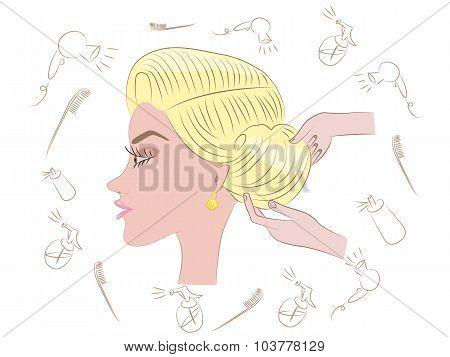 beautiful blonde hairstyle in beauty salon