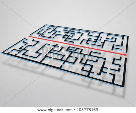 Maze illustration and red arrow right way