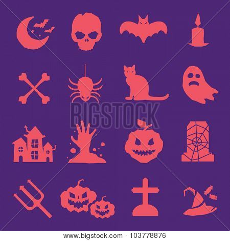 Halloween vector icons set. Pumpkin head, witch broom, candy and halloween hat. Cartoon halloween icons set, halloween silhouette for halloween party. Halloween night, ghost, pumpkin, spider halloween