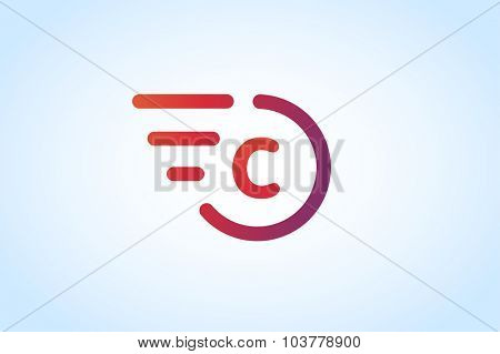 Fast line C letter logo monogram. C and lines monogram. Vector c line letter. C letter transport logo. Abstract C letter. Motion lines c line symbol. Thin line style. Transport delivery C motion car