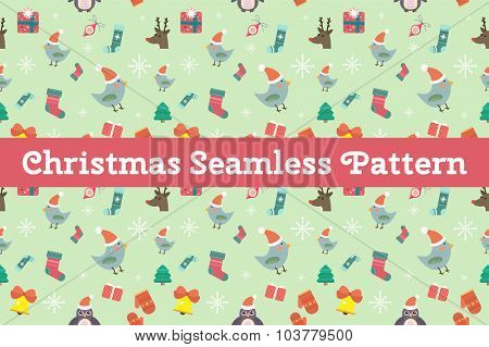 Christmas vector seamless pattern background icons set. Christmas tree, Christmas ball, Christmas bird, Christmas Tree, Christmas socks. Christmas Gift, balls, toys, snowflake, Christmas Decoration
