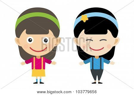 Japanese and indian cartoon vector girls in different costumes. Girls characters countries of the world, dress girls in national costumes. Vector cartoon girls. Kid girls isolated. Children vector