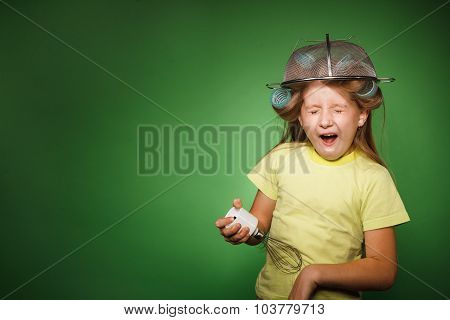 Little Girl Housewife With Kitchenware Play Music