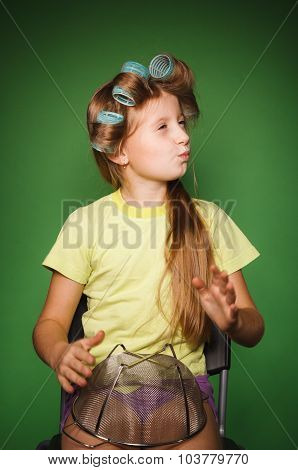 Little Girl Housewife With Kitchenware Play Music And Sing