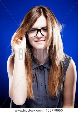 Strict Young Woman With Nerd Glasses, Giddy Grimace