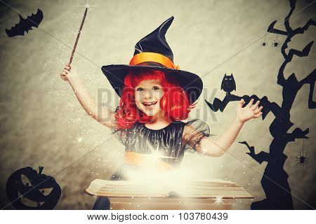 Halloween. Cheerful Little Witch With Magic Wand And Book Conjure And Laughs.