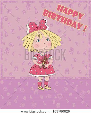 little girl with bear celebrates birthday