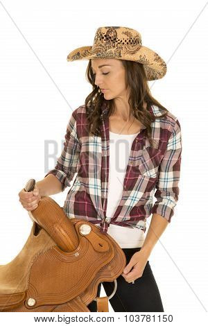 Cowgirl Plaid Shirt Hat Hold Saddle On Hip Look Down