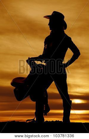 Silhouette Of A Cowgirl Holding Saddle On Hip