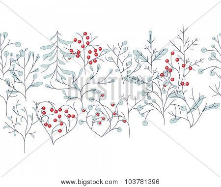 Endless pattern brush with contour winter trees isolated on white. For season design, announcements, postcards, posters.