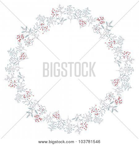 Round frame with different winter trees. Wreath for your design, Christmas announcements, greeting cards, posters.
