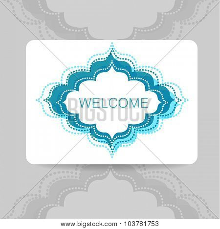 Welcome. Template design. The sign in Arabic style.