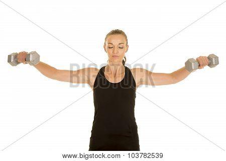 Woman Fitness Black Tank Top Lat Raise Eyes Closed