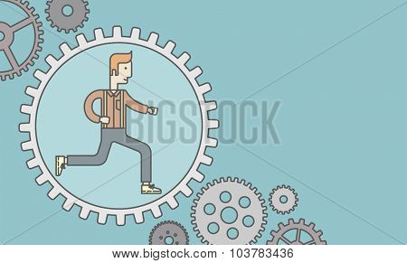 The man running inside the gear. Vector line design illustration. Horizontal layout with a text space.