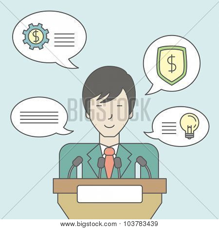 An asian speaker standing behind a podium with microphones and giving a speech. Reporting concept. Vector line design illustration. Square layout.