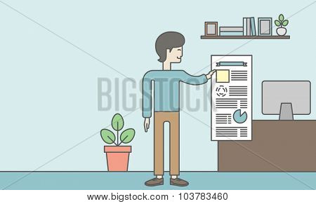 A man standing inside office showing his complete paperwork. Reporting concept. Vector line design illustration.  Horizontal layout with a text space.