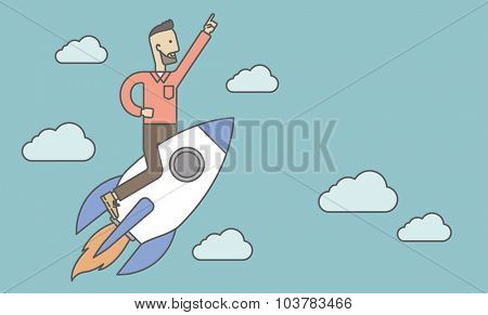 A man flying on the rocket raising his hand in the air. Start up business concept. Vector line design illustration. Horizontal layout with a text space.
