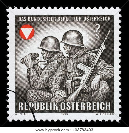 AUSTRIA - CIRCA 1969: stamp printed by Austria, shows Frontier guards, circa 1969