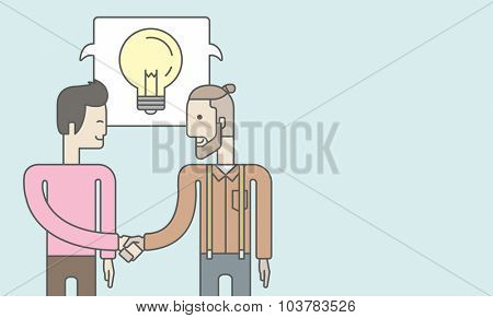 Two caucasian men standing facing each other handshaking for the successful business deal. Business partnership concept. Vector line design illustration. Horizontal layout with a text space.