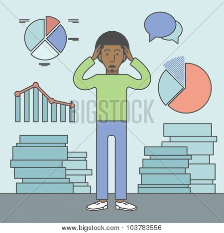 A black businessman with falling down chart is confused. Bankruptcy concept. Vector line design illustration. Square layout.