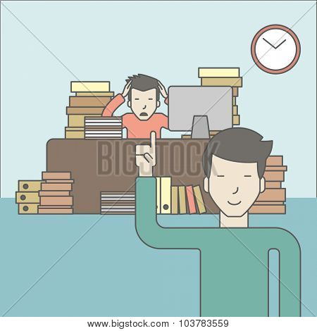 Businessman sitting at workplace in office and looking at boss pointing at clock. Deadline concept. Vector line design illustration. Square layout.