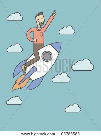 A man flying on the rocket raising his hand in the air. Start up business concept. Vector line design illustration. Vertical layout with a text space.