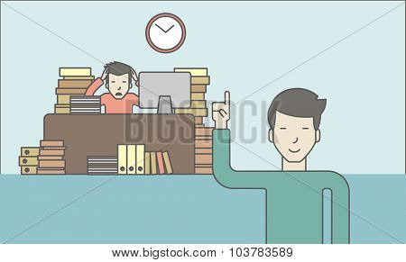 Businessman sitting at workplace in office and looking at boss pointing at clock. Deadline concept. Vector line design illustration. Horizontal layout with a text space.
