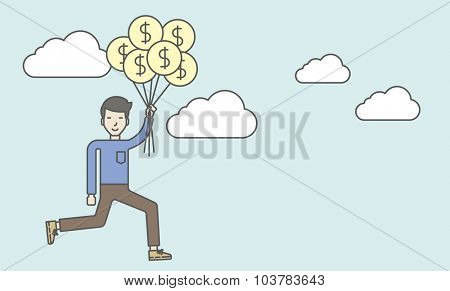 An asian businessman flying with balloons. Successful business concept. Vector line design illustration. Horizontal layout with a text space.