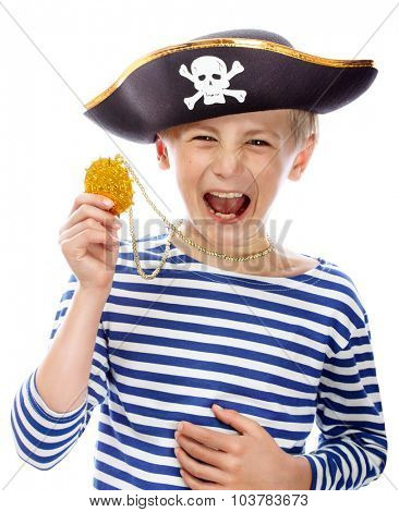 Close up portrait of angry pirate shouting. Isolated on white background