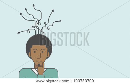 Thoughtful black man and arrows coming out of his head. Successful business concept. Vector line design illustration. Horizontal layout with a text space.