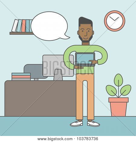 A black man standing in office and pointing at the laptop. Vector line design illustration. Square layout.