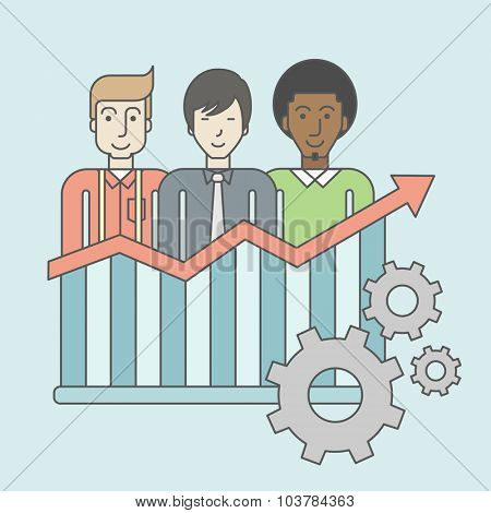 Three businessmen standing over growing chart. Perspective business concept. Vector line design illustration. Square layout.