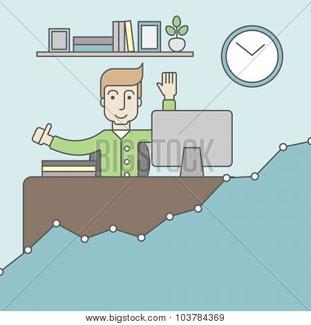 A caucasian man working at the office with growth graph. Successful business concept. Vector line design illustration. Square layout.