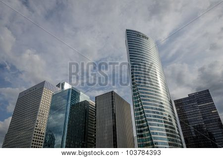 Modern office towers at La Defense in Paris