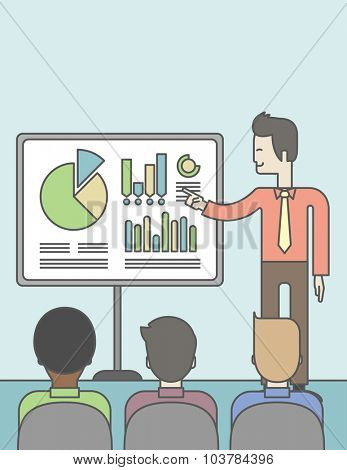 The man presenting his report through infographics in office. Reporting concept. Vector line design illustration. Vertical layout with a text space.