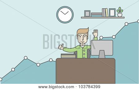 A caucasian man working at the office with growth graph. Successful business concept. Vector line design illustration. Horizontal layout with a text space.