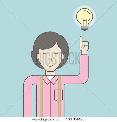 An asian woman pointing at light bulb. Successful business concept. Vector line design illustration. Square layout.