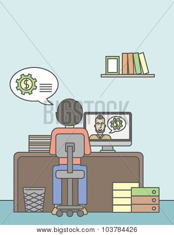 Man sitting inside the office and talking with other man using video chat. Communication concept. Vector line design illustration. Vertical layout with a text space.