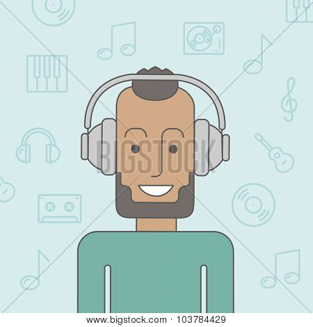 Happy black man listening to music with headphone. Vector line design illustration. Square layout.