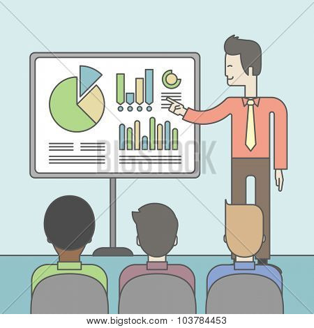 The man presenting his report through infographics in office. Reporting concept. Vector line design illustration. Square layout.
