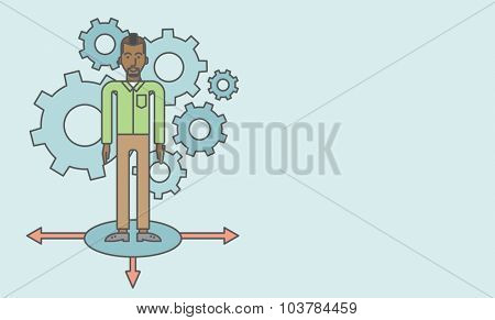 A black businessman standing on three alternative ways with gears behind him. Vector line design illustration. Horizontal layout with a text space.