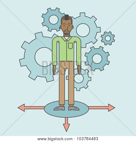 A black businessman standing on three alternative ways with gears behind him. Vector line design illustration. Square layout.