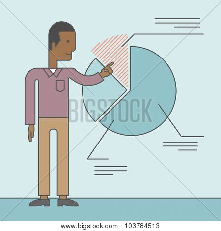 A black man presenting his report through diagram. Reporting concept. Vector line design illustration. Square layout.