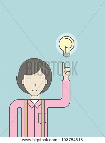 An asian woman pointing at light bulb. Successful business concept. Vector line design illustration. Vertical layout with a text space.