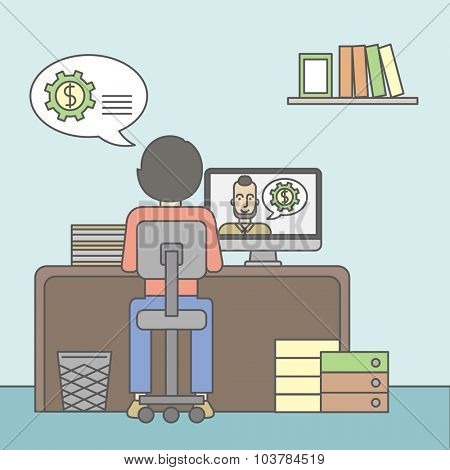 Man sitting inside the office and talking with other man using video chat. Communication concept. Vector line design illustration. Square layout.
