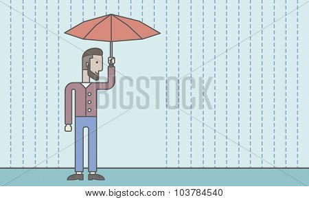 A businessman with beard standing in the rain and holding an umbrella. Security concept. Vector line design illustration. Horizontal layout with a text space.